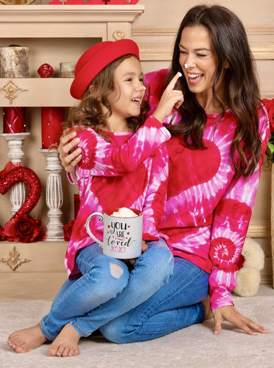 Mommy and Me Long Sleeves Tie Dye Heart Top 27-10-mom-S-xxl red and pink