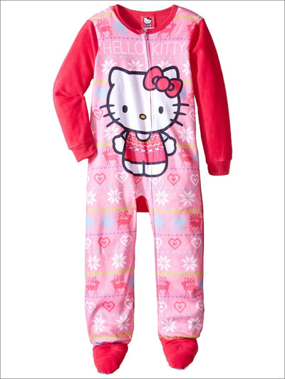Hello Kitty Big Girls Footed Fleece Blanket Sleeper Pajama - Girls Pajama