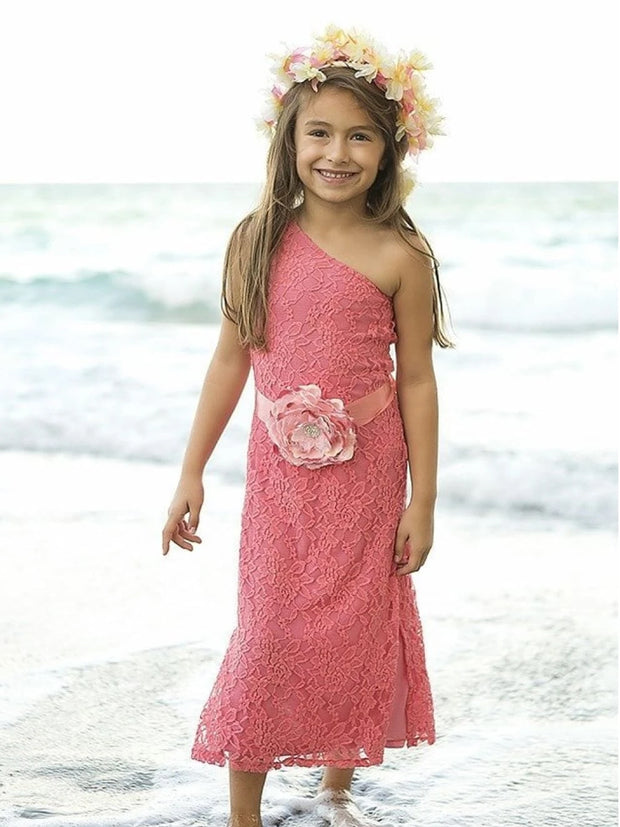 Girls Pink Lace One Shoulder Dress with Flower Belt