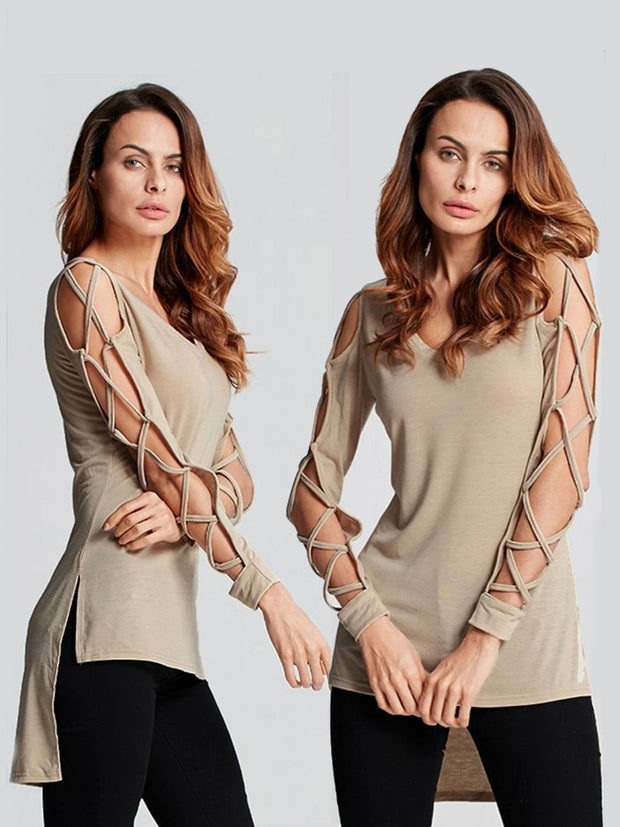 Women's Sexy Criss Cross Sleeve Hi-Lo Blouse
