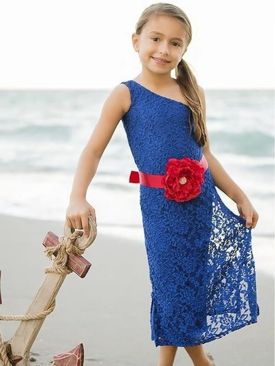 Girls Royal Blue One Shoulder Lace Dress w/ Red Flower Belt  MAR14DR11R
