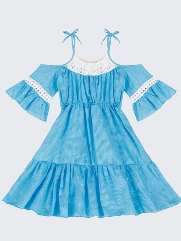 Girls Turquoise Embroidered Cold Shoulder Ruffled Peasant Dress