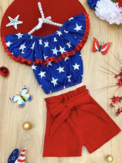 Girls Patriotic Star Ruffled Top and High Waist Belted Shorts Set