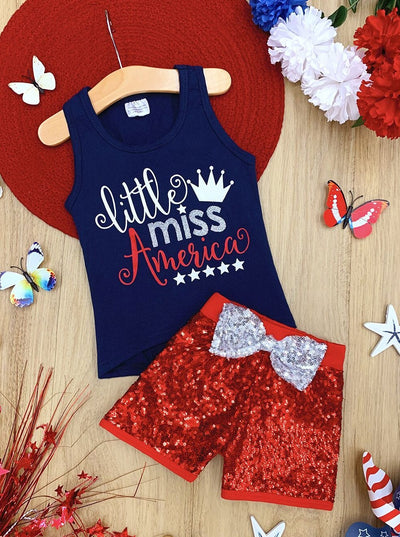 "Girls Patriotic ""Little Miss America"" Bow Tank and Sequin Shorts Set"