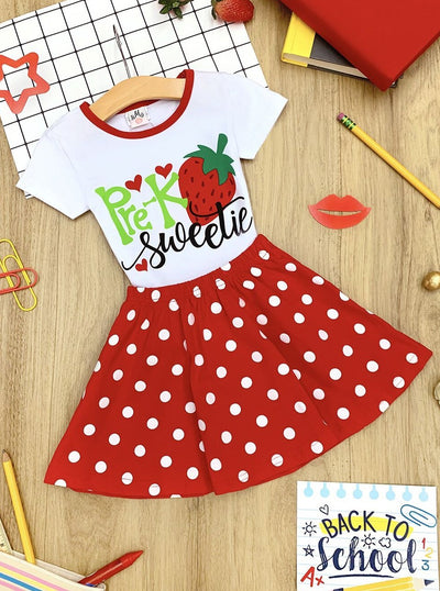 "Girls 1st Day of School ""Pre-K Sweetie"" Strawberry Print Top & Polka Dot Skirt Set"