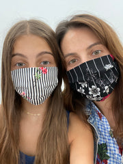 Adults and Kids Floral Striped Reusable/Washable Face Masks with Filter