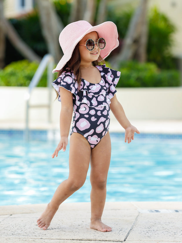Girls Leopard Double Ruffle One Piece Swimsuit