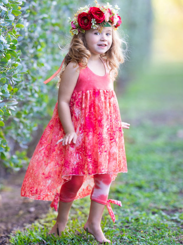 girls spring tie dye tunic and capris leggings set 2T/3T to 10Y/12Y