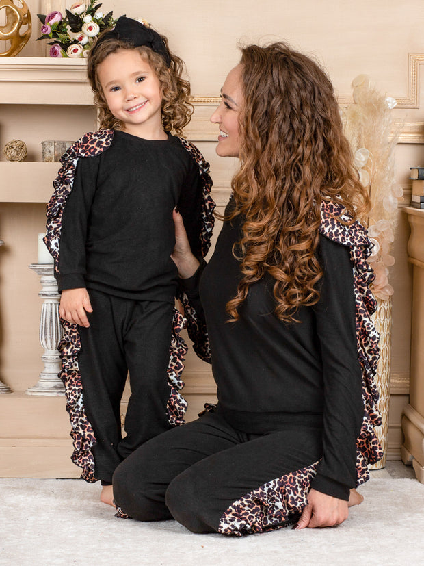 Mommy and Me Black with Leopard Ruffled Sleeves Loungewear Set