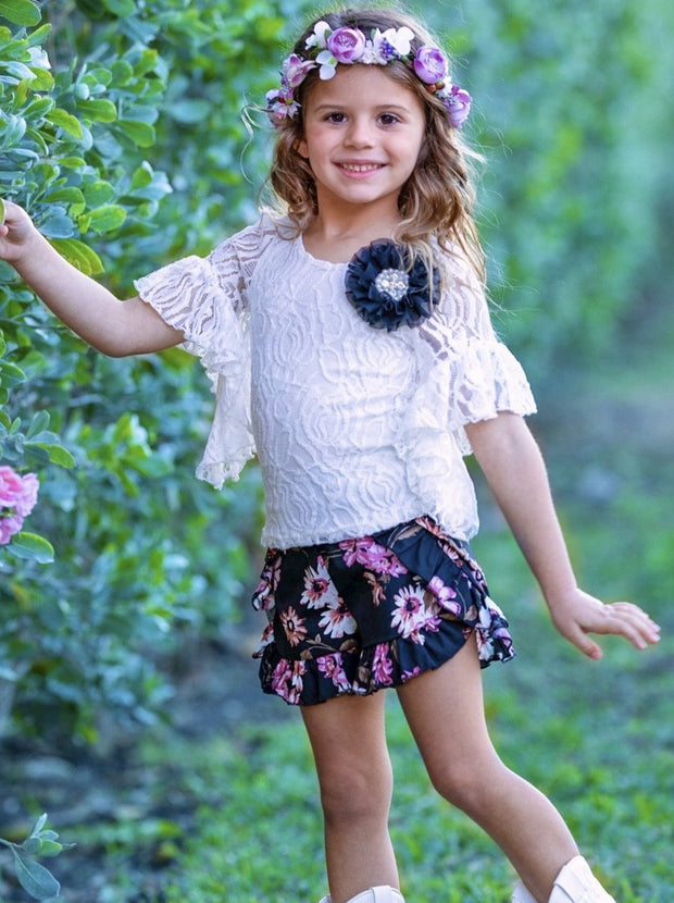 Girls Fresh Flowers Boho Ruffled Sleeve Tunic and Shorts Set