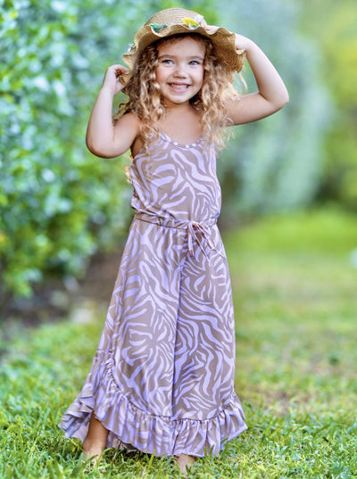 Girls Boho Drawstring Ruffled Palazzo Jumpsuit