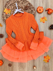 Girls Fall Chunky Knit Peplum Tutu Sweater