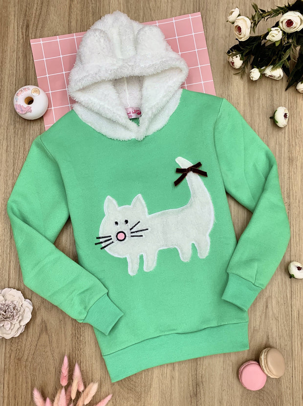 Girls Fleece Lined Cat Applique Hoodie