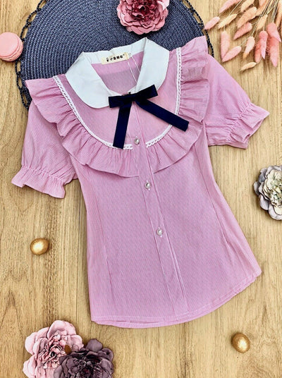 Girls Preppy Pinstripe Ruffled Preppy Blouse with Removable Bow
