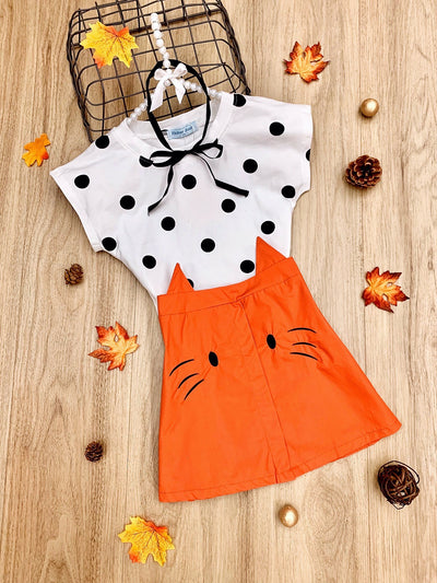 Girls Polka Dot Top Kitty Skirt Set