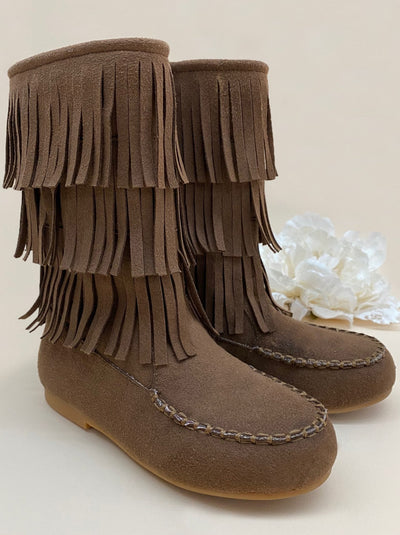 Girls Brown Fringe Boots by Liv & Mia