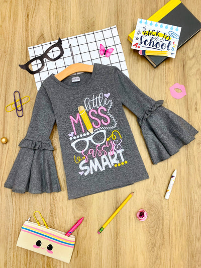 "Girls ""Little Miss Sassy & Smart"" Ruffled Bell Sleeve Top"