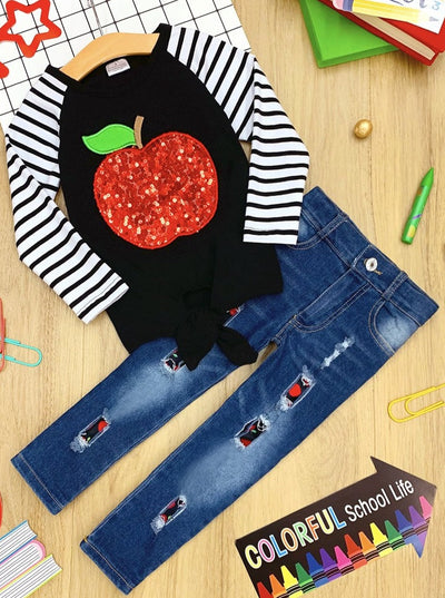 Girls Apple Knot Tie Raglan Top and Patched Jeans Set