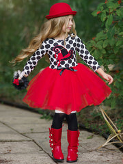 Girls Halloween Themed Long Sleeve Tutu Dress Dress with Bow