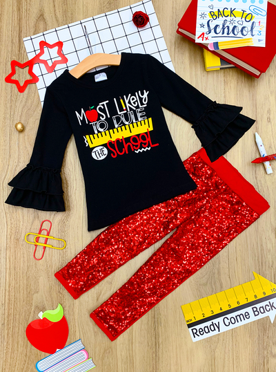 Girls Double Ruffle Sleeve Statement Top and Leggings Set