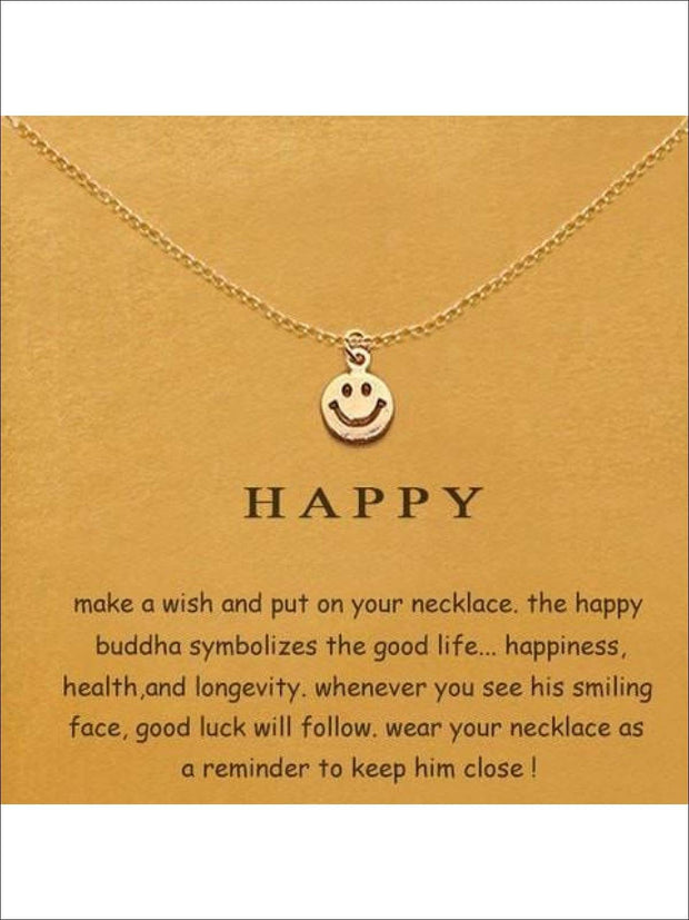 Inspiration Necklaces (Good Luck Unicorn Confidence Happy Lucky etc) - Smile / One - Necklace