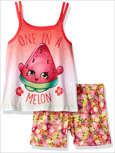 Intimo Big Girls Shopkins One in a Melon Pajama Tank Top Set Red