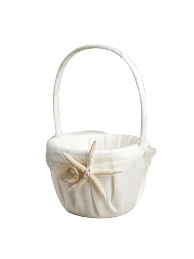Ivory Flower Girl Basket with Starfish and Seashell - Flower Girl basket