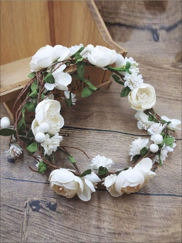 Ivory Flower Girl Headband - Flower Halo