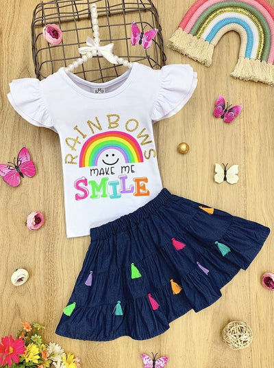 "Girls ""Rainbows Make me Smile"" Ruffled Top and Tassel Denim Skirt Set"