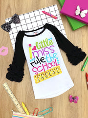 "Girls 1st Day of School 1st Day of School Long Ruffled Sleeve ""Little Miss Rule the School"" Printed Color Block Top"
