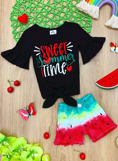 "Girls ""Sweet Summer Time"" Ruffled Knot Top and Watermelon Denim Shorts Set"
