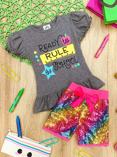 "Girls ""Ready to Rule the School"" Ruffled Star Top and Rainbow Sequin Shorts Set"