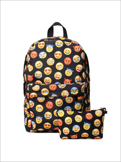 Kids 16.5 Emoji Print Backpack with Matching Pencil Case - Girls Backpacks