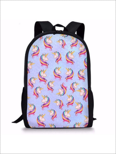 Kids 17 Blue Rainbow Mane Unicorn Print Backpack - Blue / 44x28x13 cm - Kids Backpack
