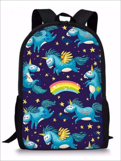 Kids 17 Navy Night Sky Rainbow Unicorn Print Backpack - Sky / 44x28x13cm - Girls Backpack