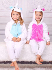 Kids Blue & Pink Unicorn Hooded Onesie Pajamas - Girls Pajama