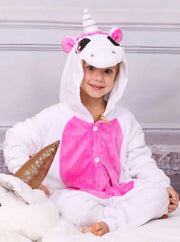 Kids Blue & Pink Unicorn Hooded Onesie Pajamas - Pink / 2T - Girls Pajama