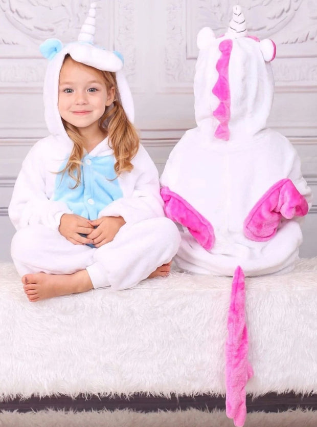Kids Blue & Pink Unicorn Hooded Onesie Pajamas - Blue / 2T - Girls Pajama