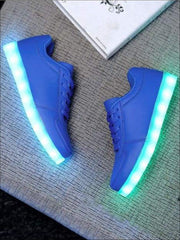 Kids Blue Rechargeable LED Lace Up Sneakers - Kids LED Sneakers