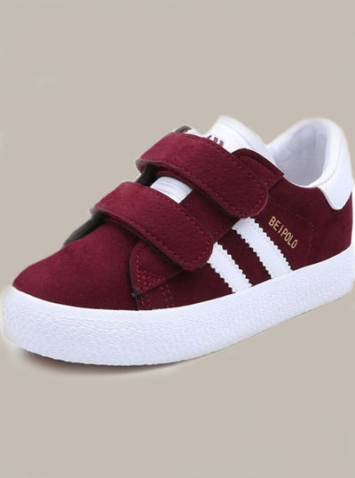 Kids Double Velcro Strap Sneakers - Burgundy / 1 - Girls Sneakers