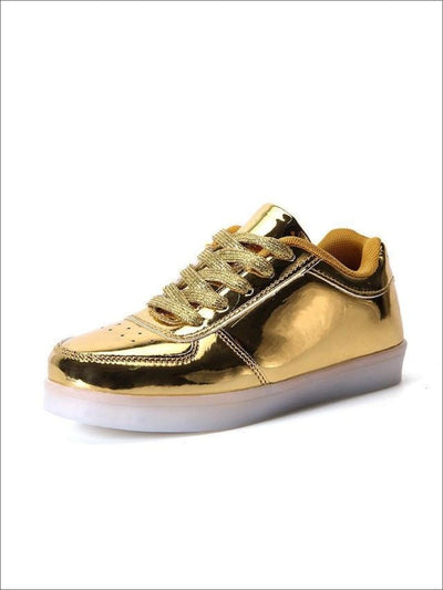 Kids Gold Rechargeable LED Lace Up Sneakers - Kids LED Sneakers