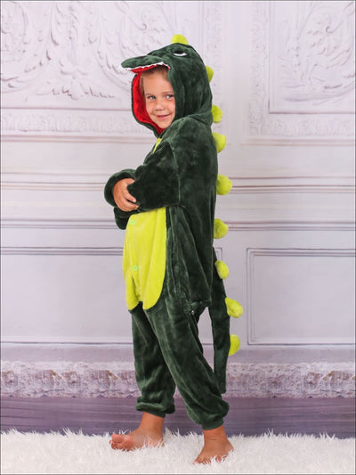 Kids Green & Pink Hooded Dinosaur Onesie Pajamas - Girls Pajama