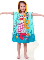 Kids Mermaid & Princess Themed Hooded Beach Towel - Blue Mermaid / One - Girls Hooded Towels