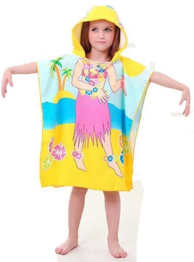 Kids Mermaid & Princess Themed Hooded Beach Towel - Hula Dancer / One - Girls Hooded Towels