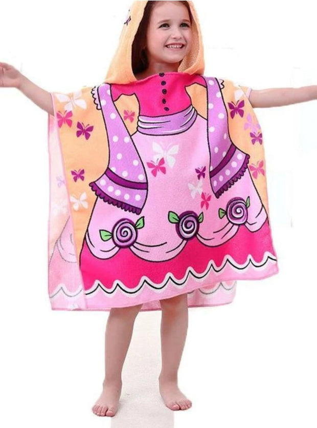 Kids Mermaid & Princess Themed Hooded Beach Towel - Pink Princess / One - Girls Hooded Towels