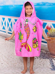 Kids Mermaid & Princess Themed Hooded Beach Towel - Pink Mermaid / One - Girls Hooded Towels