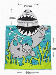 Kids Mermaid & Princess Themed Hooded Beach Towel - Shark / One - Girls Hooded Towels