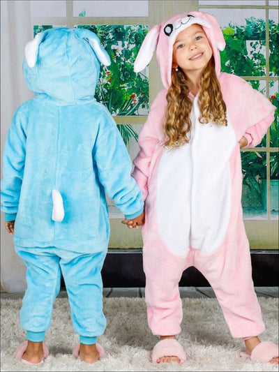 Kids Onesie Bunny Hooded Pajamas - Pink / 3T - Girls Pajama