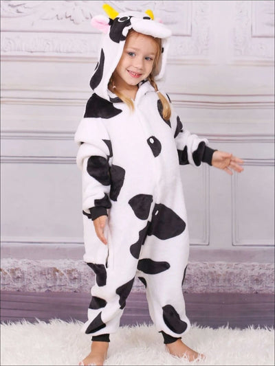 Kids Onesie Cow Hooded Pajamas - Cow / 2T - Girls Pajama