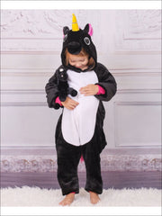 Kids Onesie Unicorn Hooded Pajamas (Black & Pink) - Girls Pajama